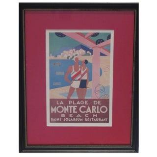 1920s Framed Vintage British Railroad Monte Carlo Ad