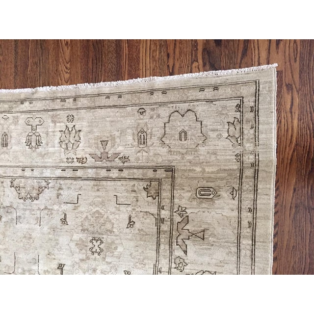 Hand Knotted Wool Oriental Neutral Rug - 8′ × 9′4″ - Image 3 of 4