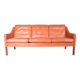 Borge Mogensen for Fredericia Danish Modern Sofa Model 2209 1978 Cognac Leather