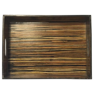 Black Lacquer Bamboo Tray With Handles