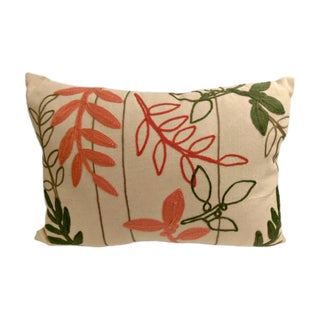 Embroidered Botanical Pillow