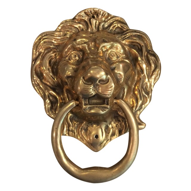 Oversize Brass Lion Head Door Knocker - Image 1 of 4