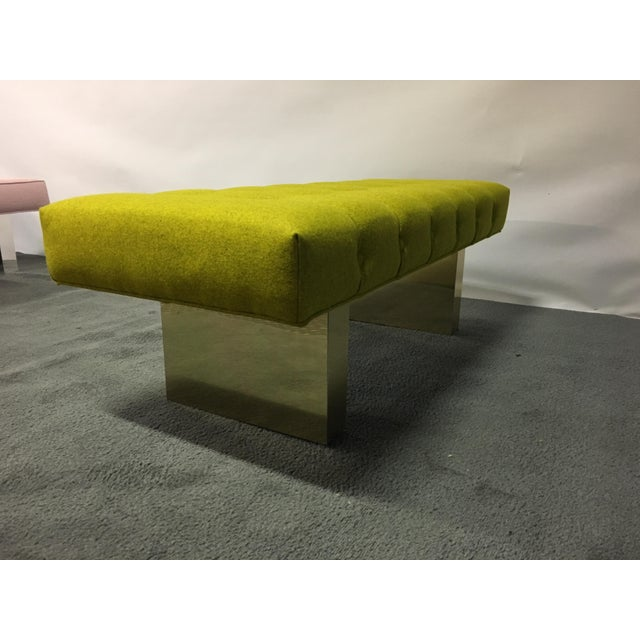 Mid-Century Modern Bright Yellow Tufted Bench on Brass Base - Image 9 of 11
