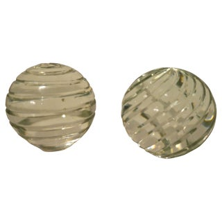 Heavy Grooved Glass Sphere Bookends