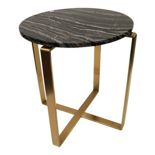 Brass Stone Top Occasional Table