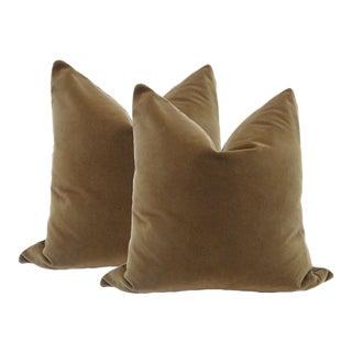 """22"""" Velvet Pillows in Chestnut Brown - A Pair"""
