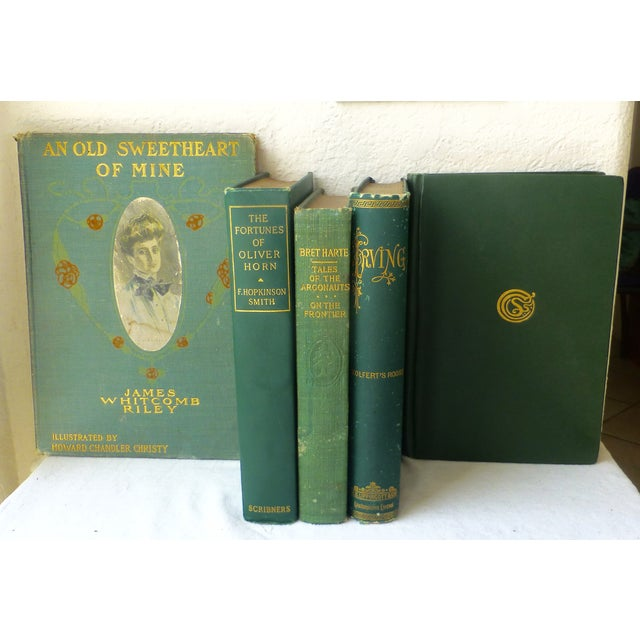 Image of Antique Green & Gold Books - Set of 5