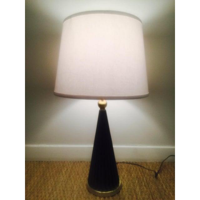 Atomic Black & Brass Metal Pleated Skirt Lamp - Image 2 of 5