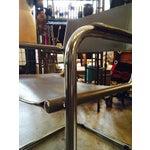 Image of Italian Smoky Grey Leather Sling Chrome Chair