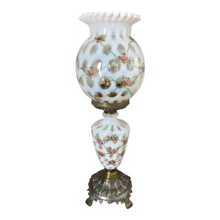 Fenton Coin Spot Hand-Painted Rose Lamp