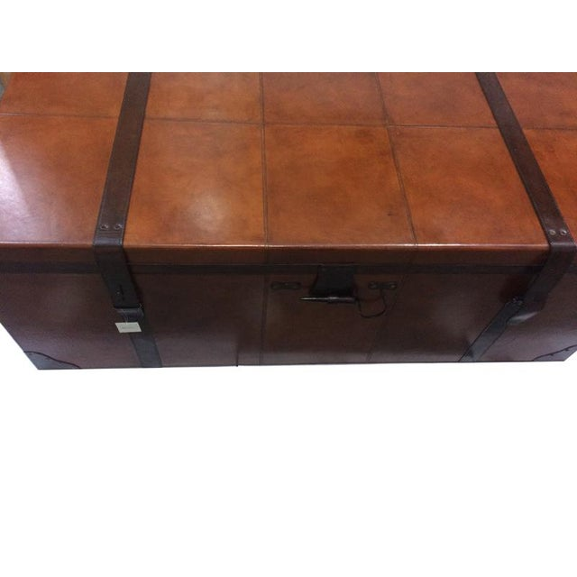 Rectangular Leather Manchester Storage Trunk Chest - Image 6 of 8