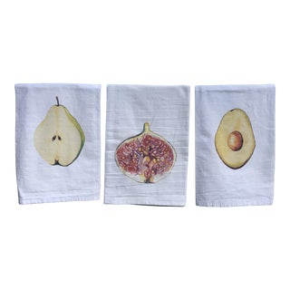 Hand-Designed Tea Napkins Pear, Fig, & Avocado - Set of 3