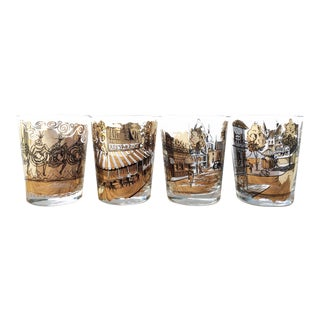 Black and Gold French Bar Glasses - Set of 4