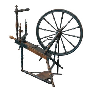 Rare 18th Century Spinning Wheel in Original Blue Paint