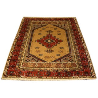 Vintage Wool Turkish Rug from the 1970s - 4′6″ × 5