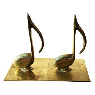 Brass Musical Note Bookends - A Pair