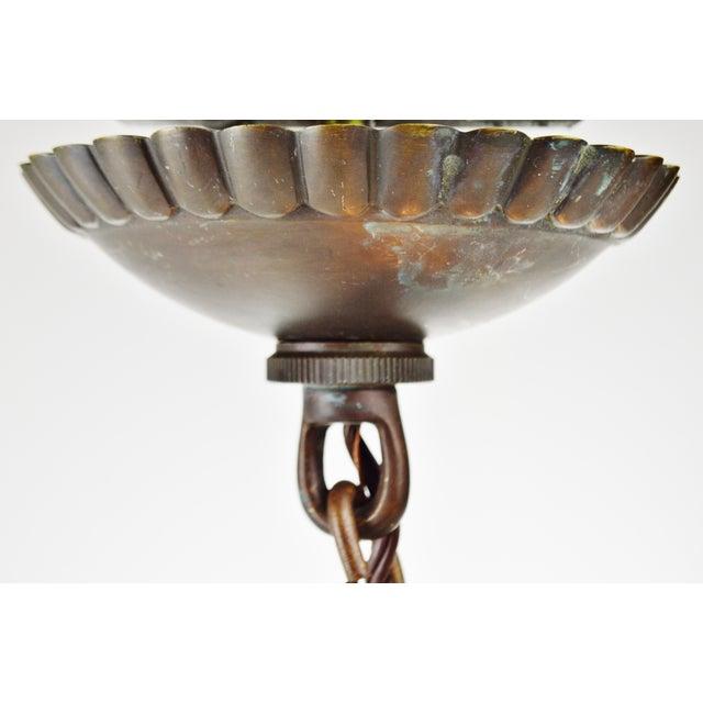 Bronze & Beveled Glass 3 Light Lantern Light Fixture - Image 10 of 11