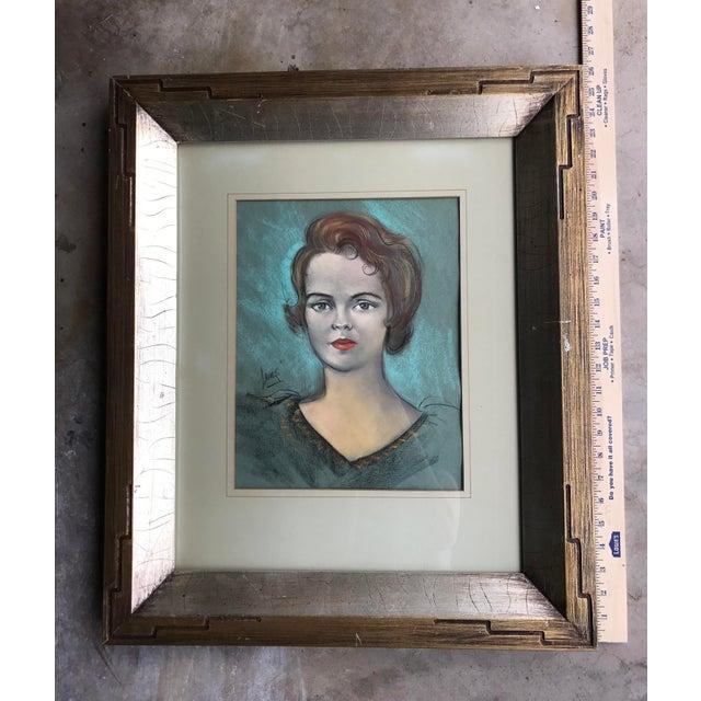 Vintage Chalk Pastels Female Portrait Drawing - Image 4 of 9