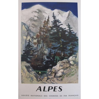 Original 1960s Vintage French Travel Poster, Alpes