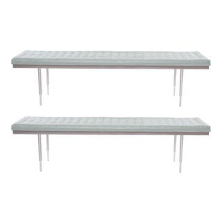 Pair of Micro Tufted Leather and Aluminum Benches