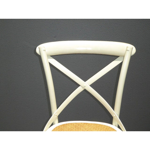Vintage French Country White Rye Seat Bar Stools - A Pair - Image 7 of 11
