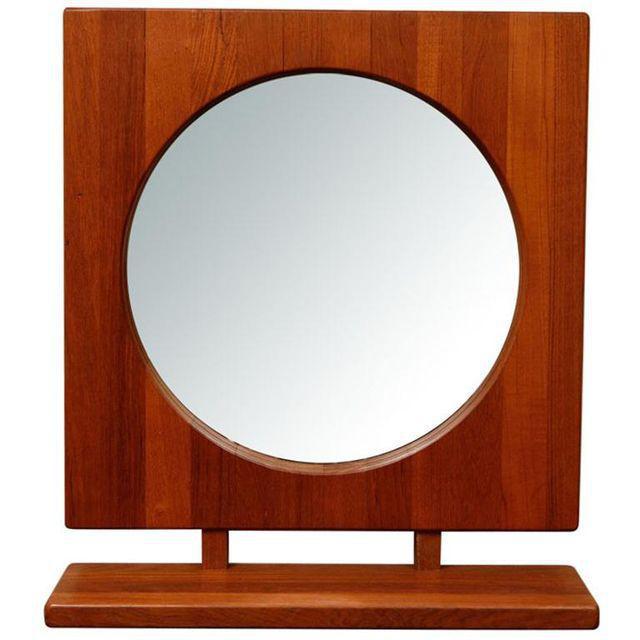 Danish Teak Table Mirror with Shelf - Image 1 of 7