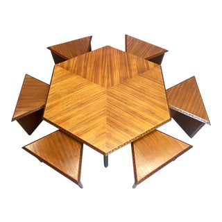 Frank Lloyd Wright Coffee Table and Stools - Set of 7