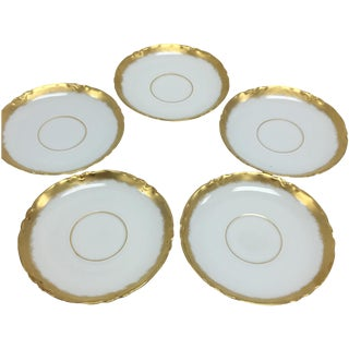 Antique Bavaria Gold White Saucers - Set of 5