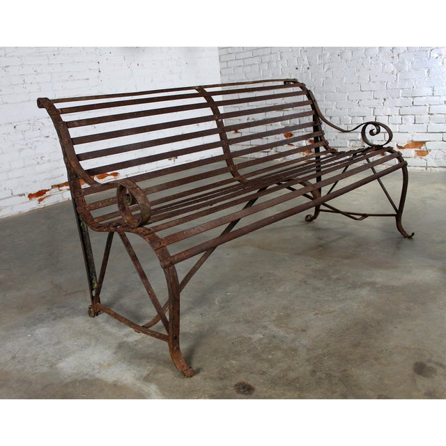 Antique 19th Century Forged Strap Iron Garden Bench - Image 8 of 10