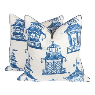Blue & Ivory Chinoiserie Pillows - A Pair