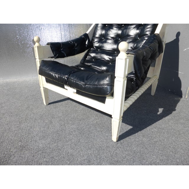 Mid-Century Black & White Chair & Ottoman - Image 7 of 11