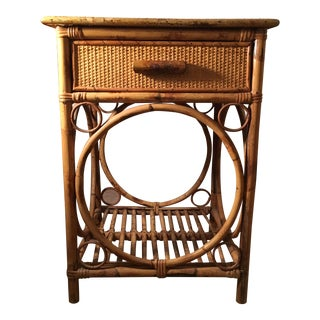 Vintage Tortoise Rattan Nightstand With Drawer
