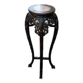 Antique Oriental 19th C CHINESE TEAKWOOD Tabouret PEDESTAL Stand BAMBOO Side TABLE Teak
