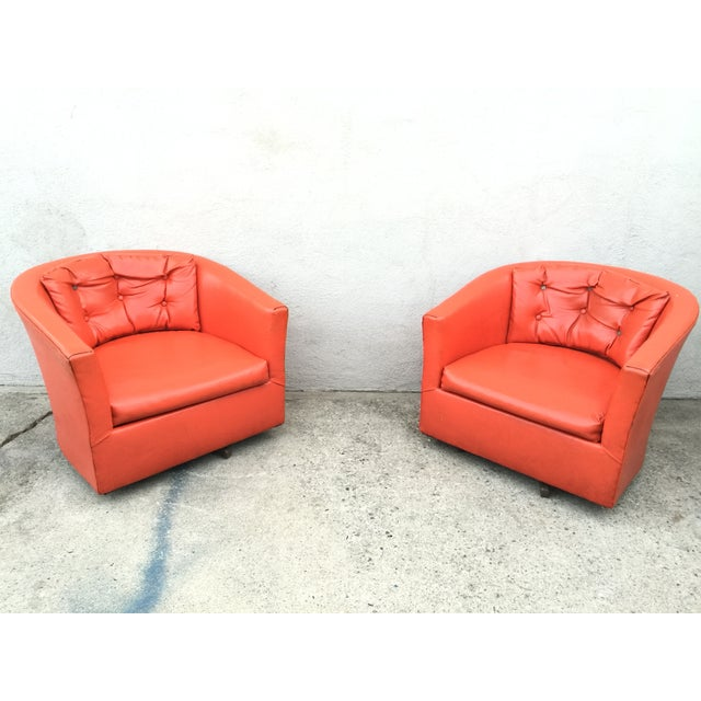 Image of Mid-Century Pink Vinyl Chairs - A Pair