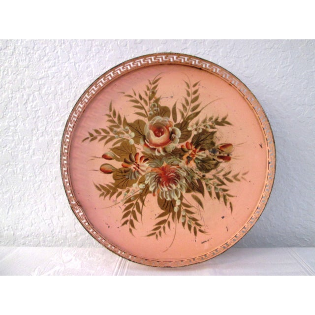 Vintage Tole Painted Pink Greek Key Tray - Image 2 of 7
