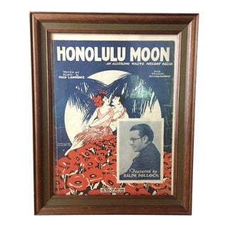 C.1920s Honolulu Moon Framed Sheet Music