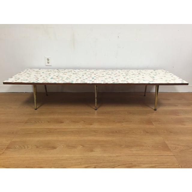 Mid Century Tile Top Coffee Table: Mid-Century Tile & Brass Coffee Table