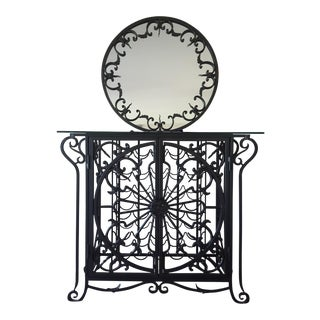 Decorative Cast Iron Wine Rack with Mirror