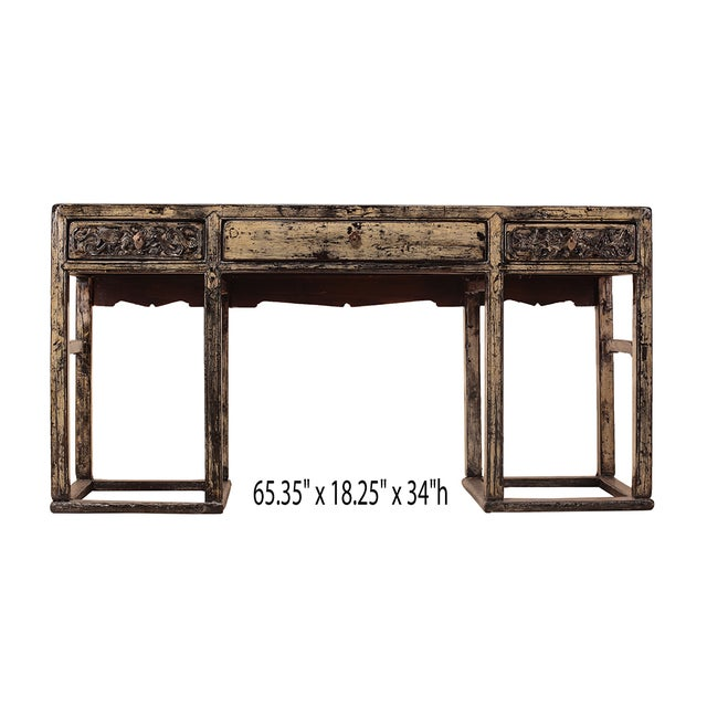Image of Chinese Yellow White Wood Altar Writing Desk