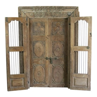 Antique Northern India Hand Carved Double Doors With Jamb