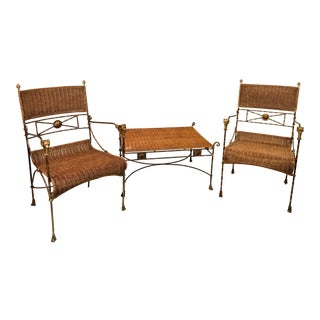 Neo-Classical Style Wicker Chairs and Ottoman