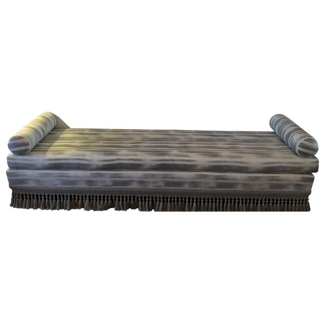 Custom Indigo & White Striped Daybed - Image 1 of 8