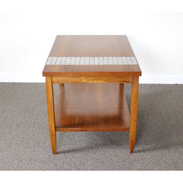 Lane Mid-Century Tile & Wood End Table - Image 7 of 10