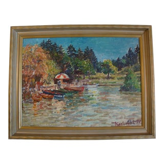 Summer Lake Oil Painting by Karl Abt, 1957