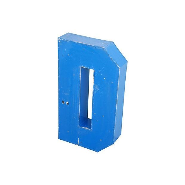 Image of Lg. Industrial Blue & White Metal Marquee Letter D