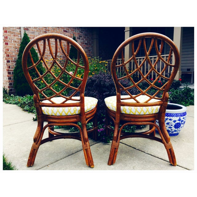 Vintage Lane Reupholstered Rattan Chairs - A Pair - Image 5 of 8