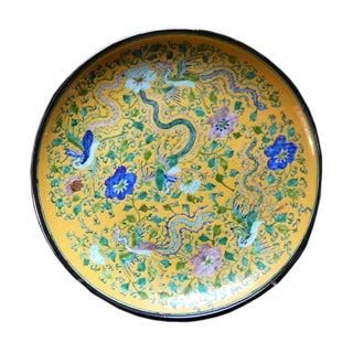 Chinese Yellow Color Phoenix Porcelain Plate