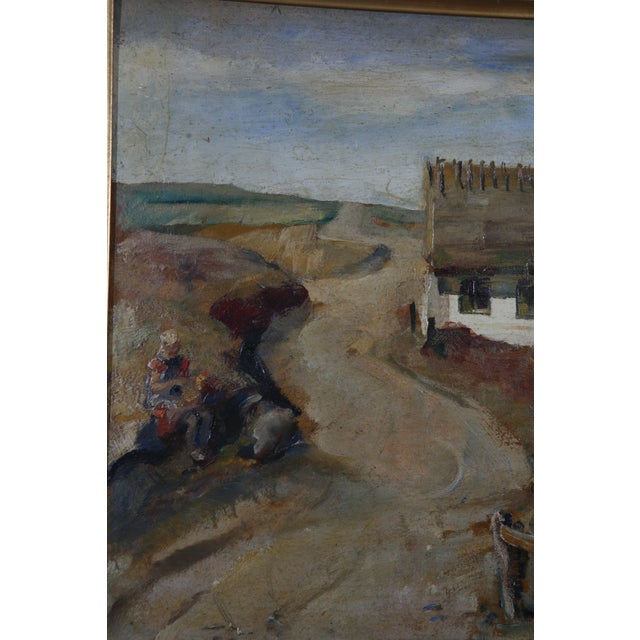 1900s Danish Country Oil Painting on Fiberboard - Image 4 of 6