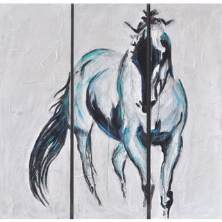 Abstract Horse Triptych Painting