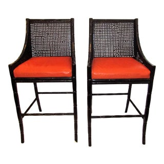 Palecek China Bay Wicker & Leather Bar Stools - A Pair